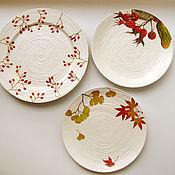 """Посуда ручной работы. Ярмарка Мастеров - ручная работа Копия работы Настенные тарелки """"Прозрачная осень.. Handmade."""