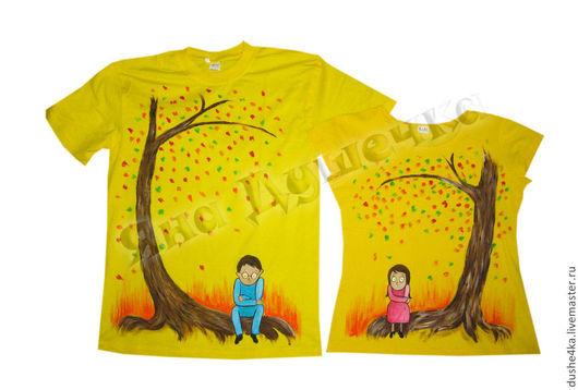 """Футболки, майки ручной работы. Ярмарка Мастеров - ручная работа. Купить Парные футболки """"Двое под деревом"""". Handmade."""