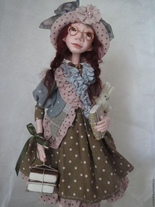 """Коллекционные куклы ручной работы. Ярмарка Мастеров - ручная работа. Купить """"Хочу все знать"""". Handmade. Оливковый, подарок на любой случай"""