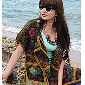 """Одежда ручной работы. Ярмарка Мастеров - ручная работа """"Палитра"""" вязаное пальто-жилет двустороннее авторское. Handmade."""