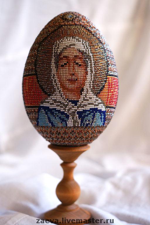 Яйца ручной работы. Ярмарка Мастеров - ручная работа. Купить Яйцо из бисера. Икона Пр. Старица Матрона. Handmade. Бисер