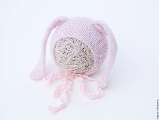 Для новорожденных, ручной работы. Ярмарка Мастеров - ручная работа. Купить Шапочка для фотосессии новорожденной Зайка розовая. Handmade. Шапка