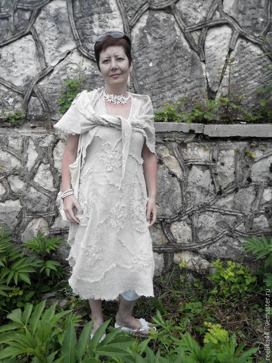 Платья ручной работы. Ярмарка Мастеров - ручная работа. Купить Бохо-сарафан из вареного льна с шалью. Handmade. Белый
