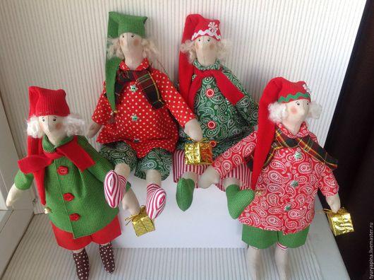 Куклы Тильды ручной работы. Ярмарка Мастеров - ручная работа. Купить Тильда новогодняя. Handmade. Ярко-красный, новогоднее украшение