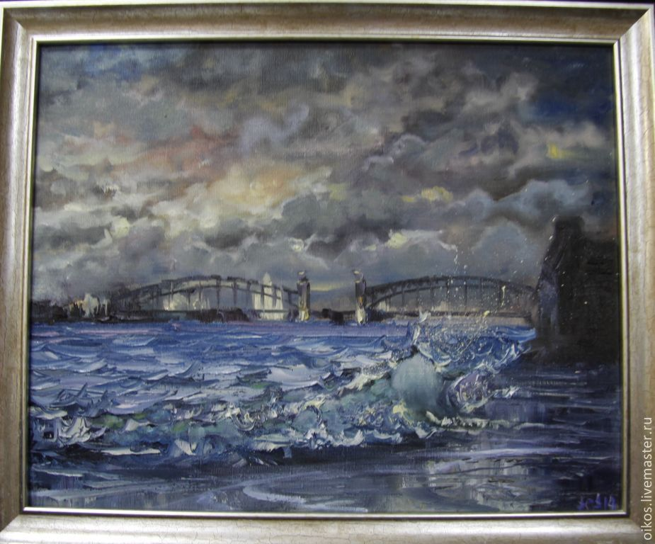Bolsheokhtinsky bridge in St. Petersburg - the author's oil painting, Pictures, St. Petersburg,  Фото №1