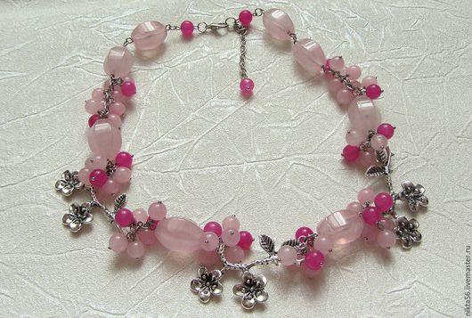 Колье САКУРА 2 из розового кварца и жадеита