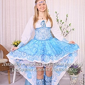 """Русский стиль ручной работы. Ярмарка Мастеров - ручная работа Концертное платье """"Королева-Гжель"""". Handmade."""