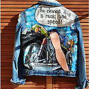 Одежда ручной работы. Ярмарка Мастеров - ручная работа Джинсовая куртка с ручной росписью. Аниме. Девушка на мотоцикле. Handmade.