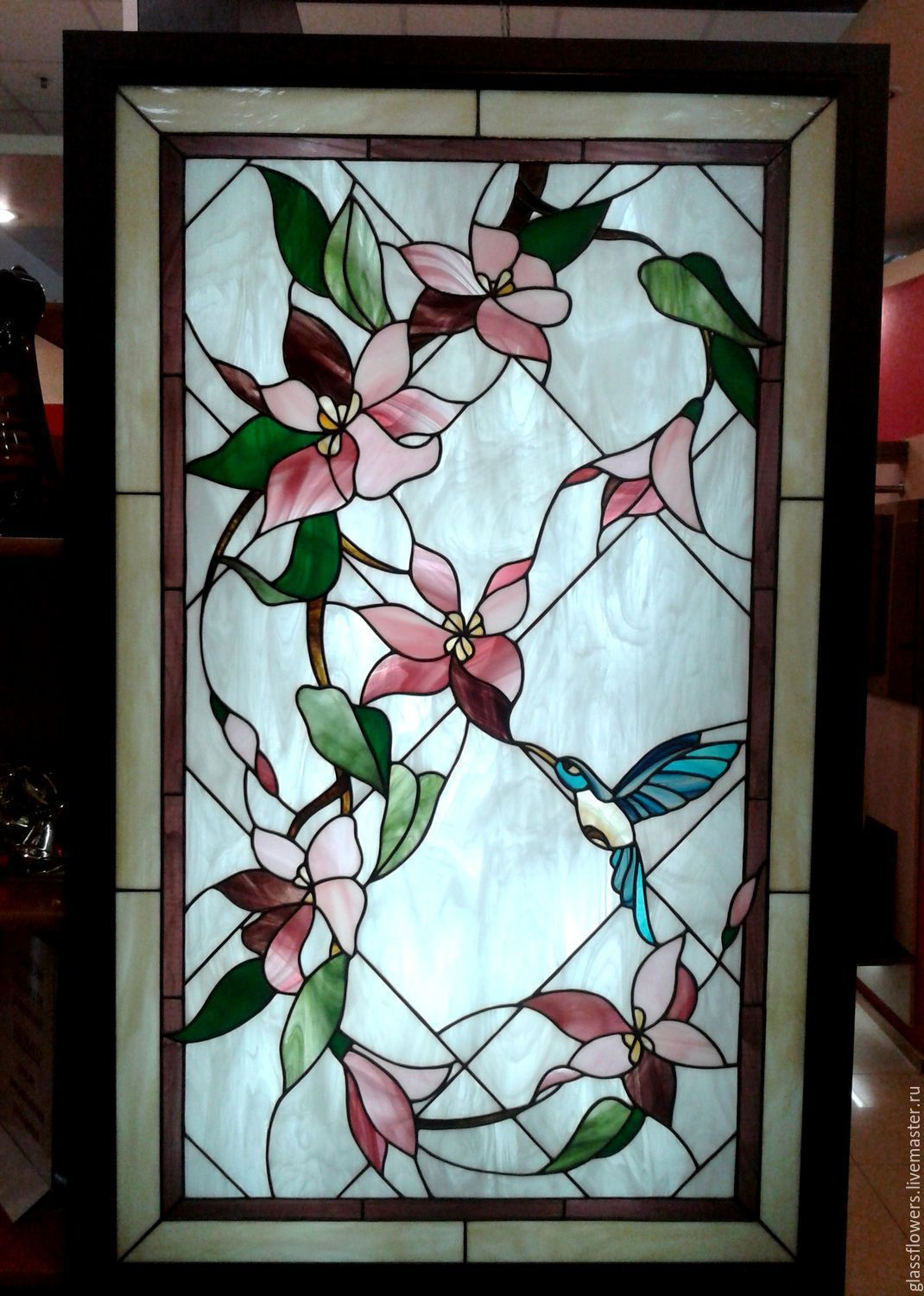 Stained Glass Hummingbird. Film stained glass in a niche with lighting, Stained glass, St. Petersburg, Фото №1