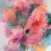 Картины и панно ручной работы. Ярмарка Мастеров - ручная работа Акварель с Розовыми Ирисами. Handmade.