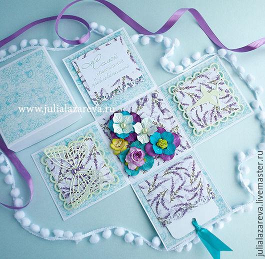 """Открытки для женщин, ручной работы. Ярмарка Мастеров - ручная работа. Купить """"Цветочная фея"""" открытка с сюрпризом для женщины. Handmade. Фиолетовый"""