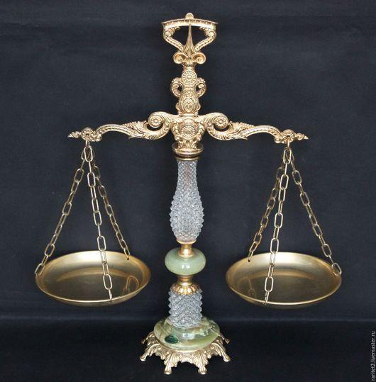 Винтажные предметы интерьера. Ярмарка Мастеров - ручная работа. Купить Ваза весы хрусталь бронза латунь чаша золото 66. Handmade.