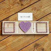 """Подарки к праздникам ручной работы. Ярмарка Мастеров - ручная работа панно """"I love you"""" из нитей и гвоздей. Handmade."""