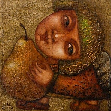 """Подарки к праздникам ручной работы. Ярмарка Мастеров - ручная работа """"Ангел с грушей 2"""", авторская печать. Handmade."""