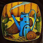 """Посуда ручной работы. Ярмарка Мастеров - ручная работа Декоративна тарелка""""Голубая лейка"""". Handmade."""