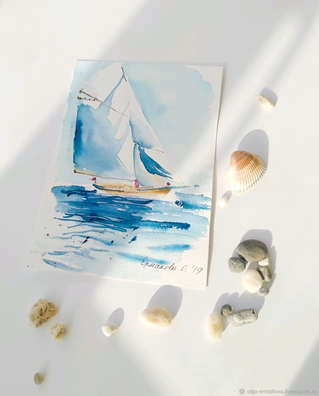 Sea painting with a yacht watercolor in the hallway or in the office office, Pictures, Moscow,  Фото №1