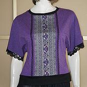 Одежда ручной работы. Ярмарка Мастеров - ручная работа Джемпер р.44-46 осень-весна фиолет с черным. Handmade.