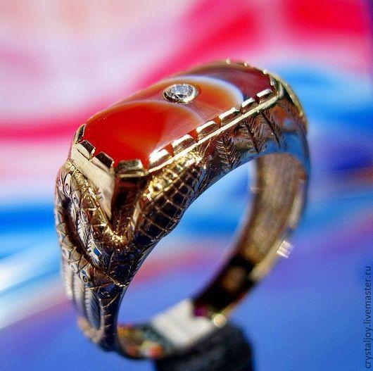 """Кольца ручной работы. Ярмарка Мастеров - ручная работа. Купить """"Восходящая Звезда"""". Handmade. Желтый, мужской перстень, рубин"""