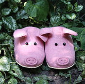 Обувь ручной работы. Ярмарка Мастеров - ручная работа тапочки валяные - Розовые поросята. Handmade.