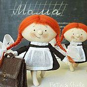 Мягкие игрушки ручной работы. Ярмарка Мастеров - ручная работа Девочка и Портфель Школьница Кукла текстильная. Handmade.