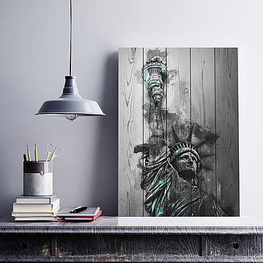Картины и панно ручной работы. Ярмарка Мастеров - ручная работа Картина на досках Статуя Свободы #2. Handmade.