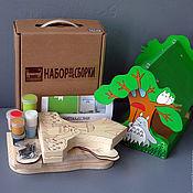 """Куклы и игрушки ручной работы. Ярмарка Мастеров - ручная работа Набор (с контурами рисунка и красками) - Кормушка """"Тоторо"""". Handmade."""