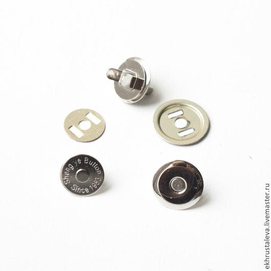 Шитье ручной работы. Ярмарка Мастеров - ручная работа. Купить Тонкая магнитная кнопка, никель, 16 мм. Handmade. Серебряный