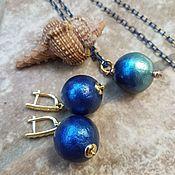 Украшения handmade. Livemaster - original item Set of BLUE SILK-Earrings and pendant of cotton pearls. Handmade.