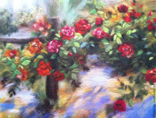 """Картины цветов ручной работы. Ярмарка Мастеров - ручная работа. Купить картина из шерсти """"Плетистые розы"""". Handmade. Разноцветный"""