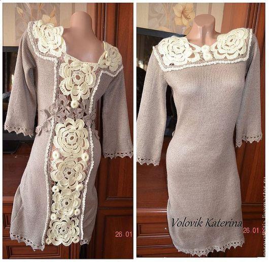 Платья ручной работы. Ярмарка Мастеров - ручная работа. Купить платье - DIANA с кружевной спиной. Handmade. Бежевый, Платье нарядное
