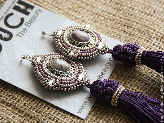 Серьги с кистями `Sweet violet`