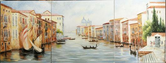Город ручной работы. Ярмарка Мастеров - ручная работа. Купить Венеция триптих. Handmade. Комбинированный, картина маслом