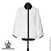 Одежда ручной работы. Ярмарка Мастеров - ручная работа Рубашка чёрно-белая с длинным рукавом. Handmade.