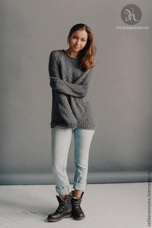 """Кофты и свитера ручной работы. Ярмарка Мастеров - ручная работа. Купить Пуловер """"Стильный"""".. Handmade. Серый, спицы"""