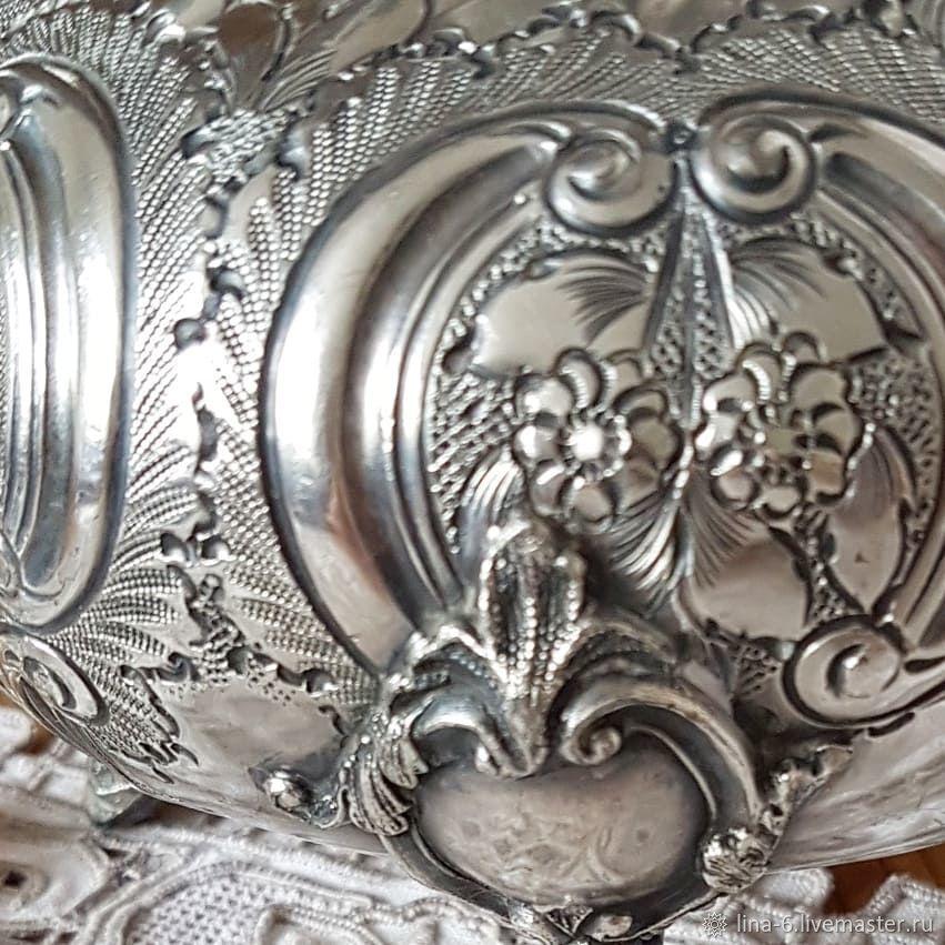 Старинный чайник вензеля Франция конец 19в. посеребрение серебро