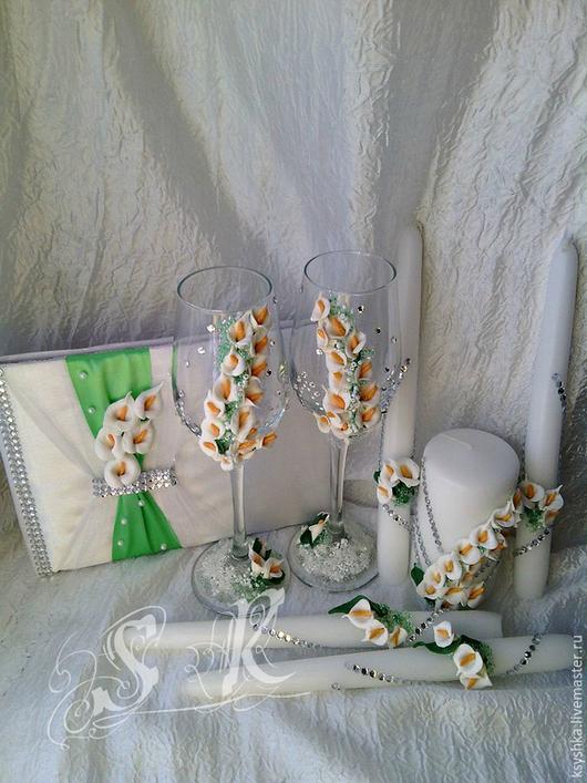 """Свадебные аксессуары ручной работы. Ярмарка Мастеров - ручная работа. Купить Свадебный набор""""Каллы"""". Handmade. Белый, книга пожеланий, бокалы"""