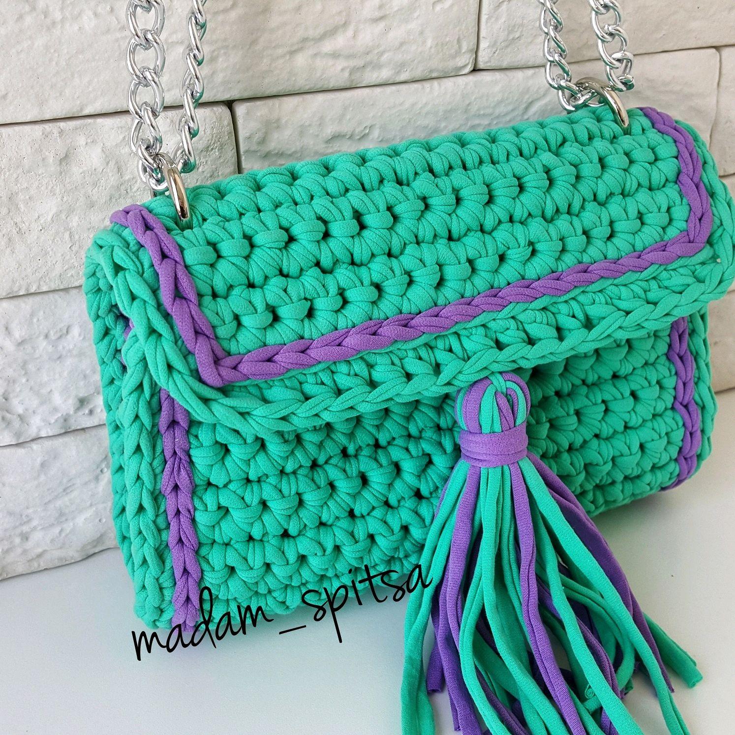 Вязание спицами сумки из трикотажной пряжи 6