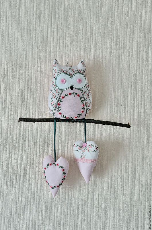 """Детская ручной работы. Ярмарка Мастеров - ручная работа. Купить Сова""""Цветочная""""текстильное панно для детской розовый зеленый. Handmade. Розовый, сова"""