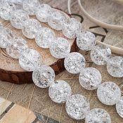 Материалы для творчества handmade. Livemaster - original item The smooth quartz crackle beads 10 mm (art. 2492). Handmade.