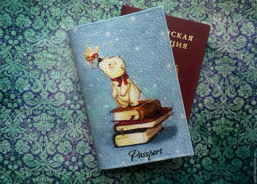 Обложки ручной работы. Ярмарка Мастеров - ручная работа. Купить Обложка на паспорт МИШУТКА. Handmade. Голубой, обложка на паспорт