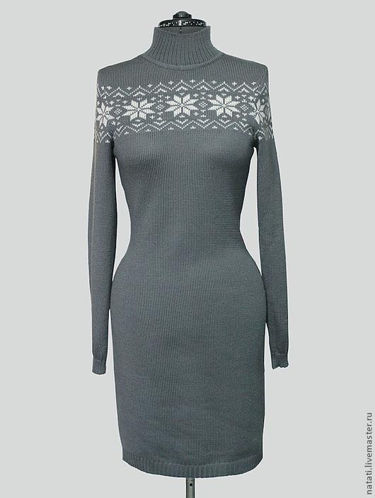 Платья ручной работы. Ярмарка Мастеров - ручная работа. Купить Платье серое со снежинкой. Handmade. Серый, шерстяное платье