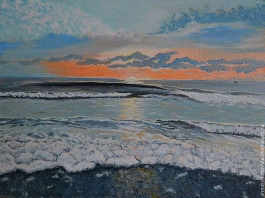 """Пейзаж ручной работы. Ярмарка Мастеров - ручная работа. Купить Картина """"Море. Огненный закат"""". Handmade. Серый, картина маслом"""
