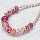Авторский лэмпворк. Ожерелье из стеклянных бусин ручной работы и розового натурального жемчуга. Цена 2500р