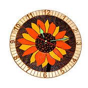 """Часы ручной работы. Ярмарка Мастеров - ручная работа Часы настенные """"Подсолнух"""" с кофейной сердцевиной.. Handmade."""