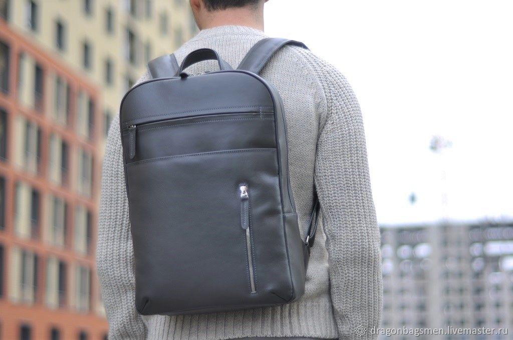 Men's leather backpack 'Marko' (Grey), Men\\\'s backpack, Yaroslavl,  Фото №1