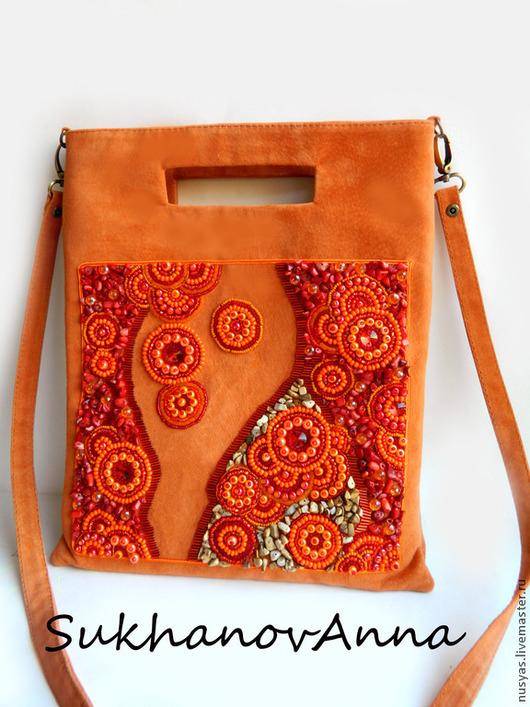 """Женские сумки ручной работы. Ярмарка Мастеров - ручная работа. Купить Сумка """"Оранжевый закат"""". Handmade. Оранжевый, сумка оранжевая"""