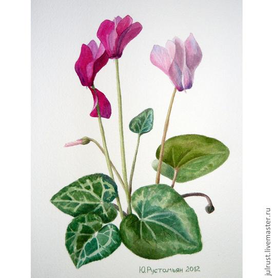 Картины цветов ручной работы. Ярмарка Мастеров - ручная работа. Купить Картина акварелью Цикламены Цветут, розовый фуксия зеленый цикламен. Handmade.