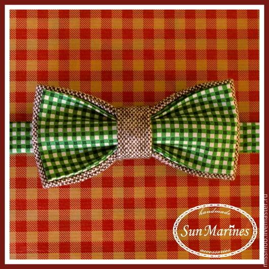 """Галстуки, бабочки ручной работы. Ярмарка Мастеров - ручная работа. Купить Двусторонняя галстук-бабочка """"Дживс"""". Handmade. Зеленый"""