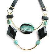 Украшения handmade. Livemaster - original item Necklace with chrysoprase and onyx, black necklace
