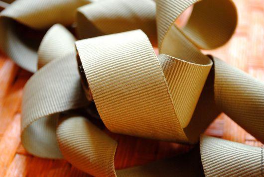 """Шитье ручной работы. Ярмарка Мастеров - ручная работа. Купить Матовая репсовая лента """"Золотисто бежевая"""" (Италия). Handmade."""